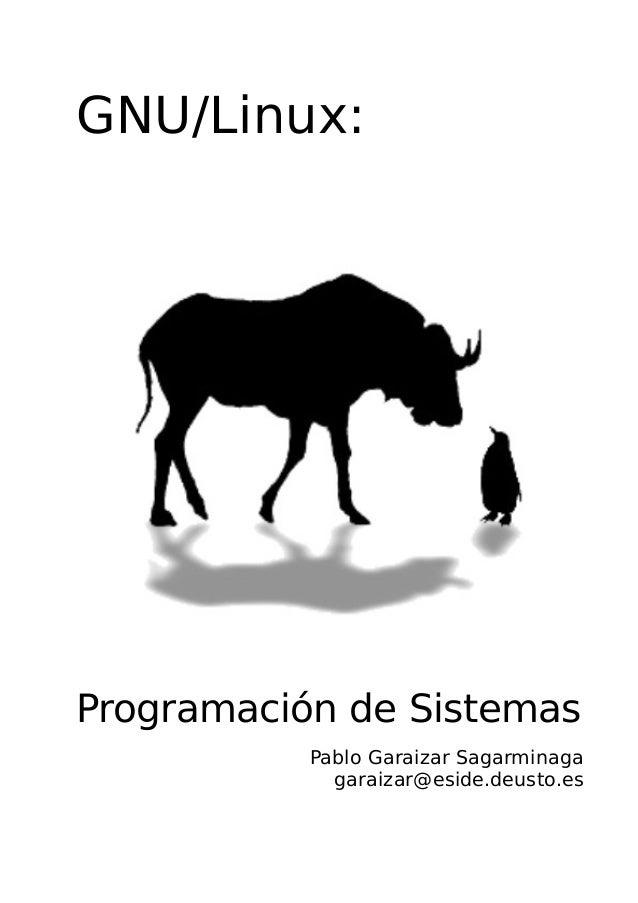 GNU/Linux: Programación de Sistemas Pablo Garaizar Sagarminaga garaizar@eside.deusto.es