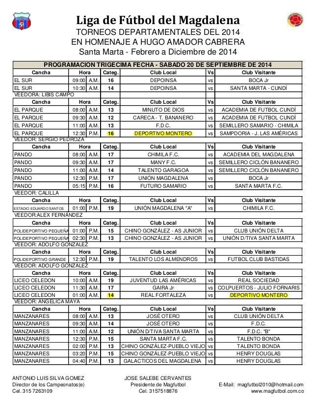 Liga de Fútbol del Magdalena  TORNEOS DEPARTAMENTALES DEL 2014  EN HOMENAJE A HUGO AMADOR CABRERA  Santa Marta - Febrero a...