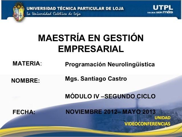 MAESTRÍA EN GESTIÓN            EMPRESARIALMATERIA:     Programación NeurolingüísticaNOMBRE:      Mgs. Santiago Castro     ...