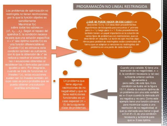 PROGRAMACÓN NO LINEAL RESTRINGIDA Los problemas de optimización no restringida no tienen restricciones, por lo que la func...