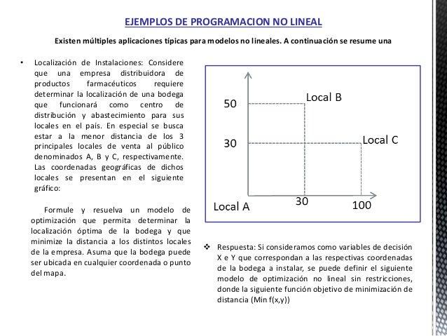 EJEMPLOS DE PROGRAMACION NO LINEAL  Respuesta: Si consideramos como variables de decisión X e Y que correspondan a las re...