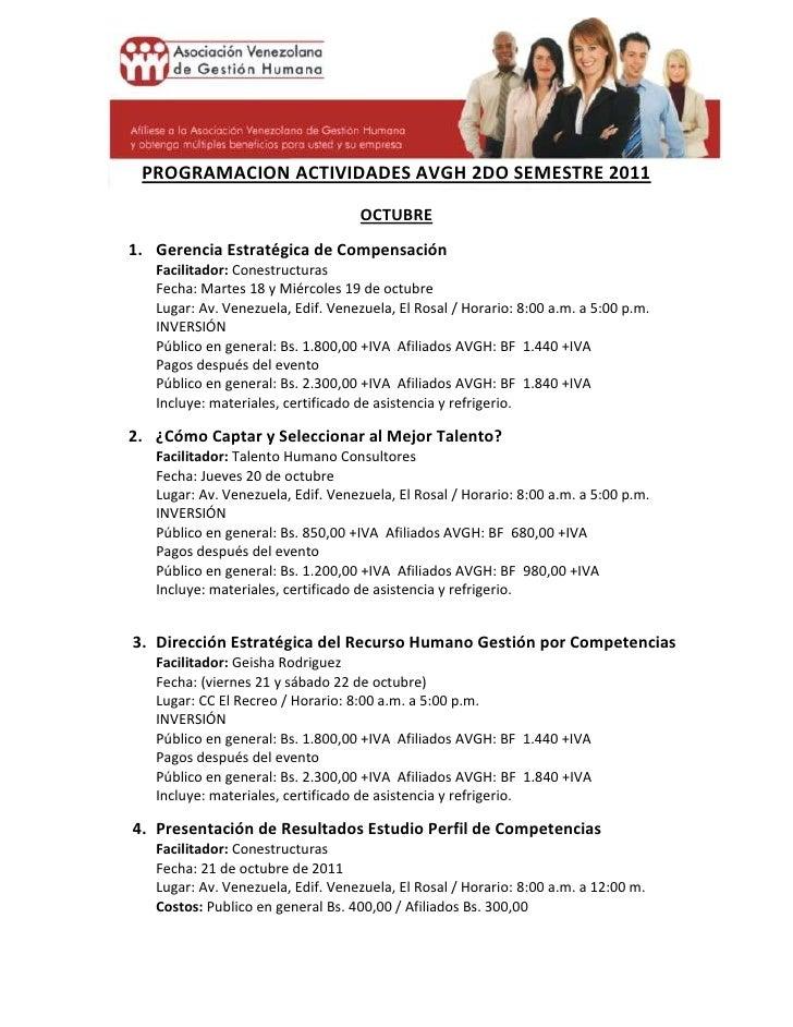 -22860-718820<br />PROGRAMACION ACTIVIDADES AVGH 2DO SEMESTRE 2011<br />OCTUBRE<br />Gerencia Estratégica de Compensación ...