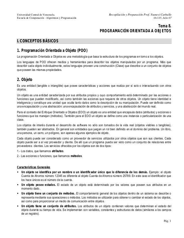 Universidad Central de Venezuela. Recopilación y Preparación Prof. Yusneyi Carballo  Escuela de Computación - Algoritmos y...