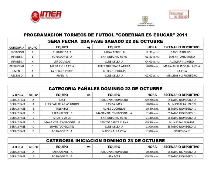 "PROGRAMACION TORNEOS DE FUTBOL ""GOBERNAR ES EDUCAR"" 2011                   3ERA FECHA 2DA FASE SABADO 22 DE OCTUBRECATEGOR..."