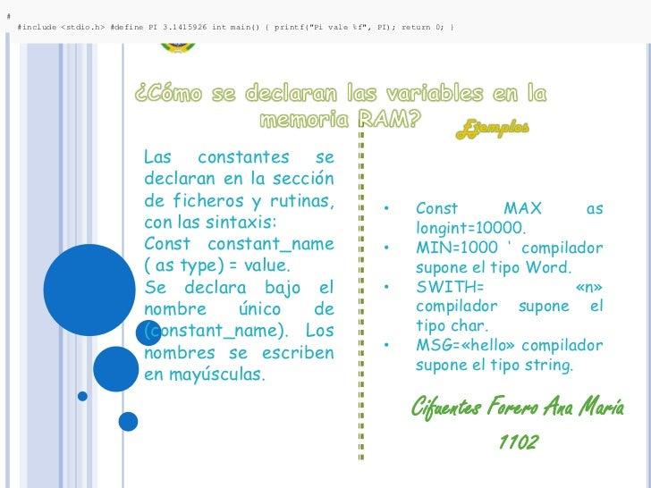 "#include <stdio.h> #define PI 3.1415926 int main() { printf(""Pi vale %f"", PI); return 0; }  #include <stdio.h> #define PI ..."