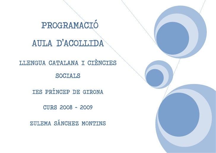 PROGRAMACIÓ   AULA D'ACOLLIDALLENGUA CATALANA I CIÈNCIES          SOCIALS   IES PRÍNCEP DE GIRONA      CURS 2008 – 2009  Z...