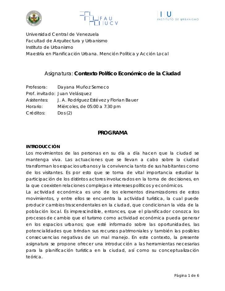 Universidad Central de VenezuelaFacultad de Arquitectura y UrbanismoInstituto de UrbanismoMaestría en Planificación Urbana...