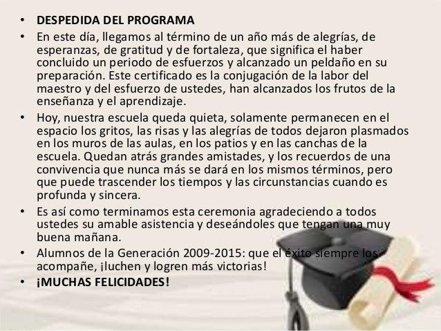 Frases Para Clausura De Primaria Programa Ceremonia De