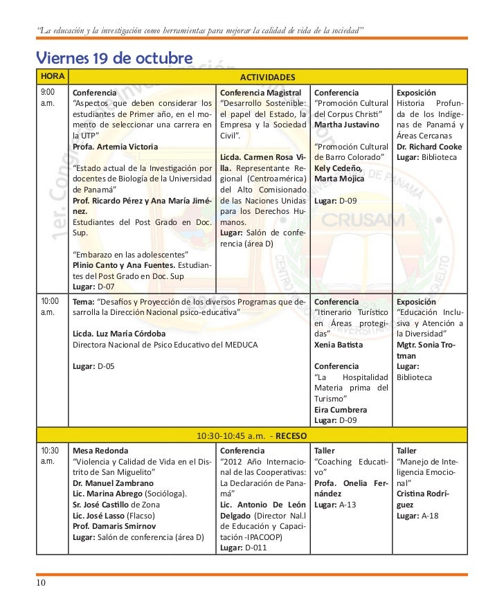 Primer Congreso de Investigación e Innovación                                         12:00-1:00 p.m. ALMUERZO            ...