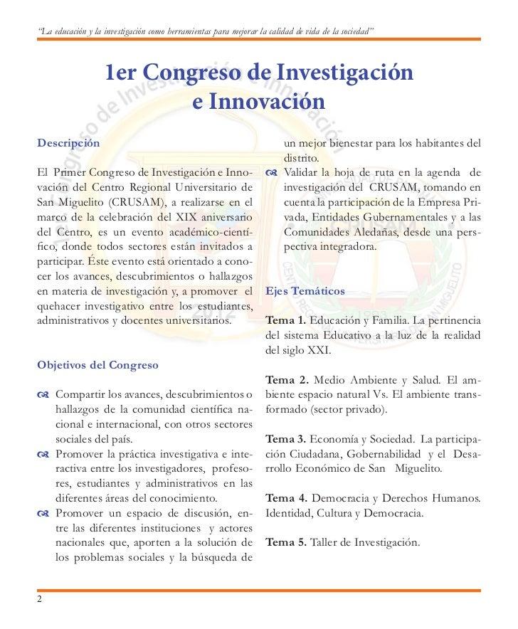 Primer Congreso de Investigación e InnovaciónLunes 15 de octubreHORA                                                      ...