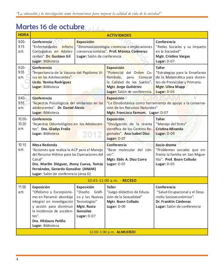 Primer Congreso de Investigación e Innovación                             1:00-4:00 p.m. SEMINARIO A PROFESORES - Lugar: B...