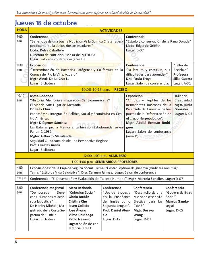 Primer Congreso de Investigación e Innovación6:30   Exposiciones                     Conferencia                    Confer...