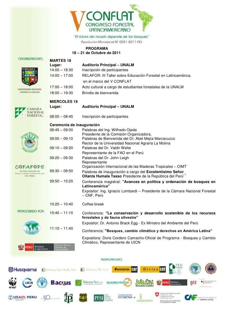 PROGRAMA            18 – 21 de Octubre de 2011MARTES 18Lugar:           Auditorio Principal – UNALM14:00 – 18:30    Inscri...