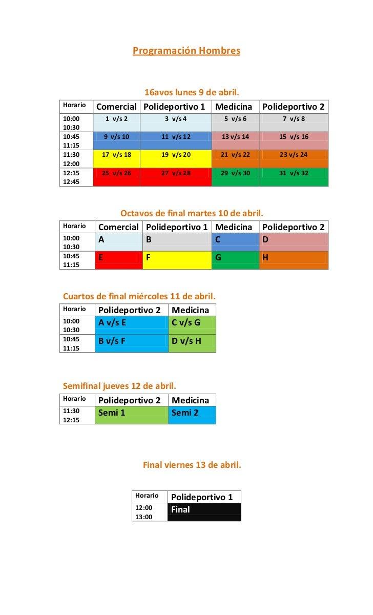 Programación Hombres                    16avos lunes 9 de abril.Horario   Comercial Polideportivo 1 Medicina              ...