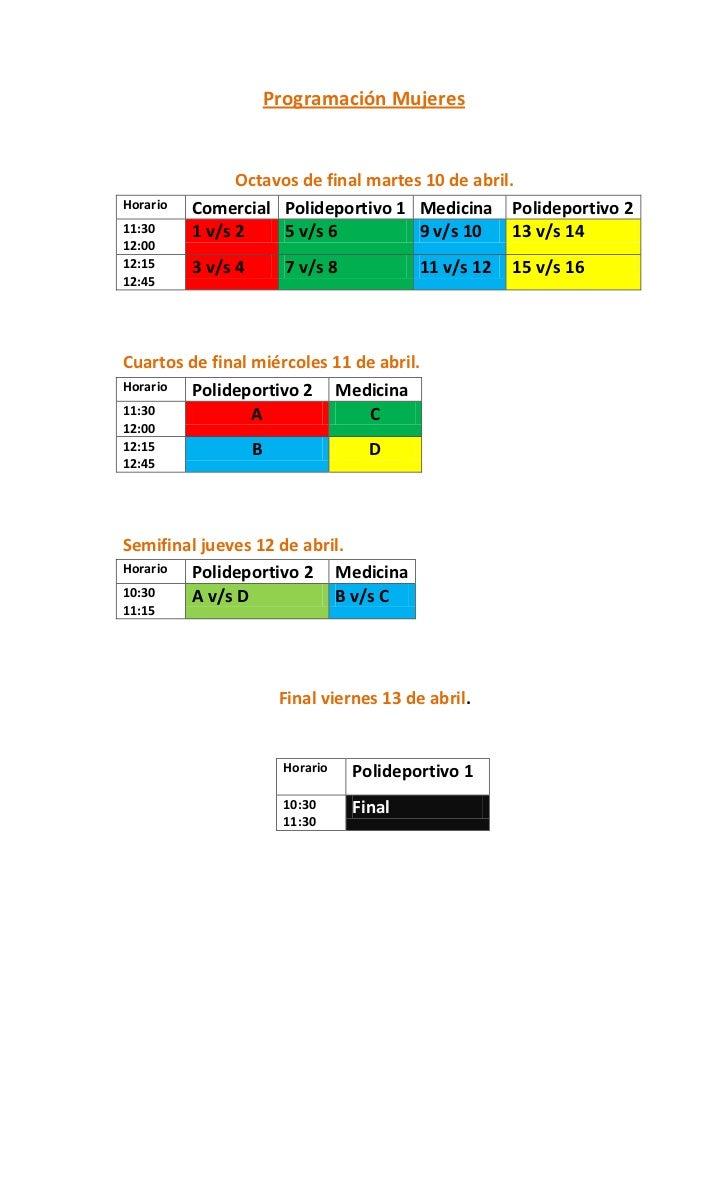Programación Mujeres                Octavos de final martes 10 de abril.Horario   Comercial Polideportivo 1 Medicina Polid...