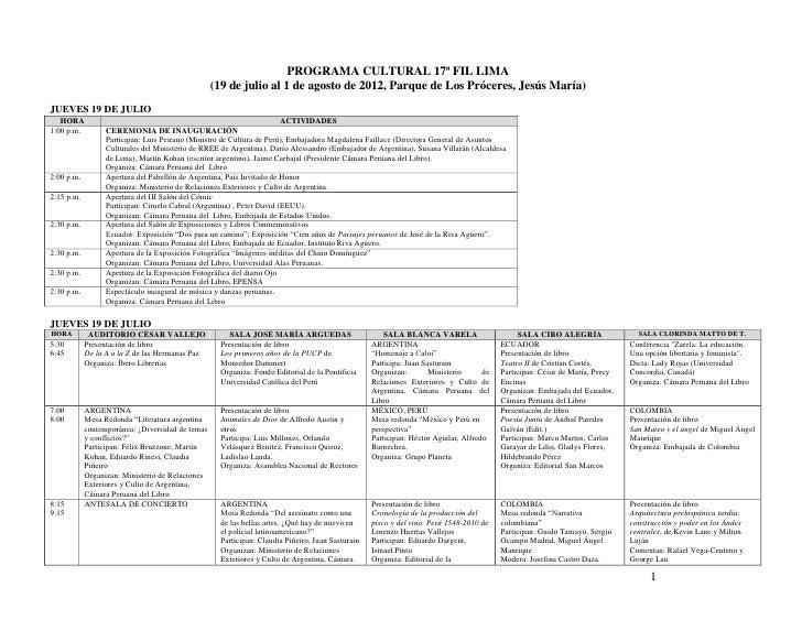 PROGRAMA CULTURAL 17ª FIL LIMA                                                  (19 de julio al 1 de agosto de 2012, Parqu...