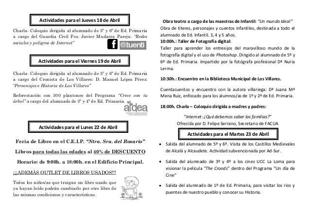 """Actividades para el Jueves 18 de Abril                  Obra teatro a cargo de las maestras de Infantil: """"Un mundo Ideal"""" ..."""