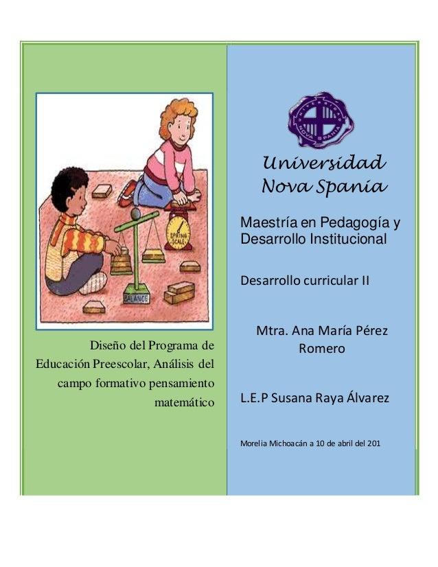 Programa Curricular Nivel Preescolar