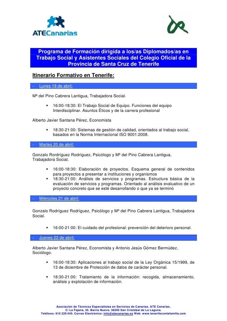 Programa de Formación dirigida a los/as Diplomados/as en     Trabajo Social y Asistentes Sociales del Colegio Oficial de l...