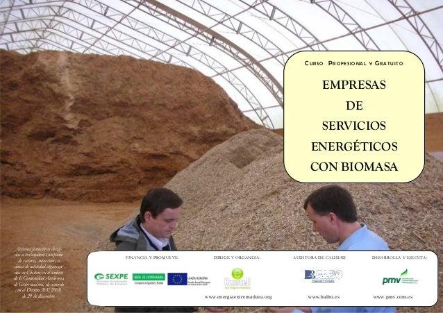 CURSO PROFESIONAL Y GRATUITO EMPRESAS DE SERVICIOS ENERGÉTICOS CON BIOMASA FINANCIA Y PROMUEVE: DIRIGE Y ORGANIZA: AUDITOR...