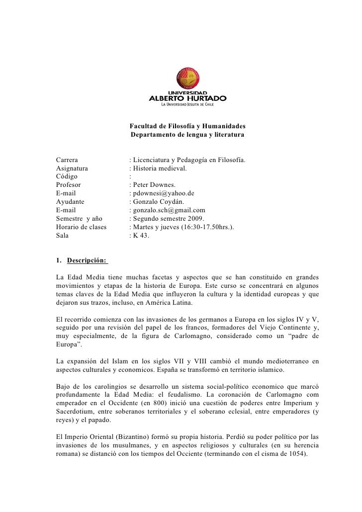 Facultad de Filosofía y Humanidades                          Departamento de lengua y literatura   Carrera                ...