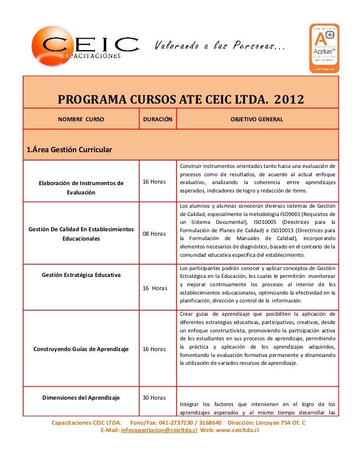 PROGRAMA CURSOS ATE CEIC LTDA. 2012          NOMBRE CURSO                   DURACIÓN                        OBJETIVO GENER...