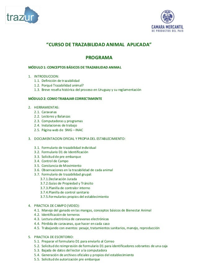 """CURSO DE TRAZABILIDAD ANIMAL APLICADA""                                       PROGRAMAMÓDULO 1: CONCEPTOS BÁSICOS DE TRAZA..."