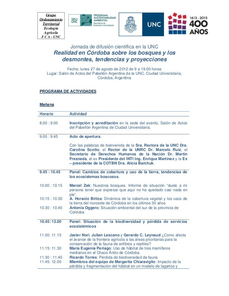 GrupoOrdenamiento Territorial  Ecología  Agrícola F C A - UNC                 Jornada de difusión científica en la UNC    ...