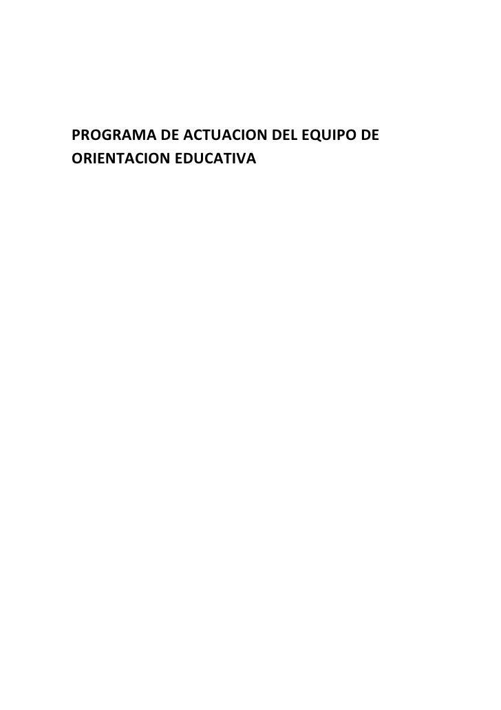 PROGRAMA DE ACTUACION DEL EQUIPO DEORIENTACION EDUCATIVA