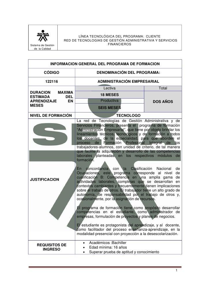 LÍNEA TECNOLÓGICA DEL PROGRAMA: CLIENTE                      RED DE TECNOLOGIAS DE GESTIÓN ADMINISTRATIVA Y SERVICIOS Sist...