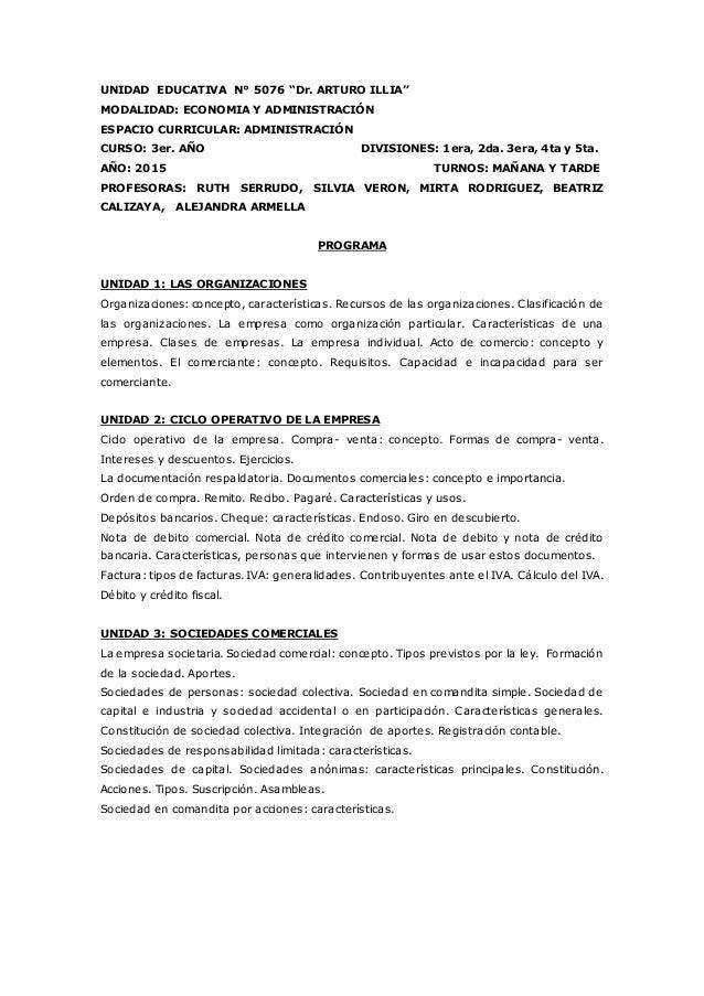 """UNIDAD EDUCATIVA N° 5076 """"Dr. ARTURO ILLIA"""" MODALIDAD: ECONOMIA Y ADMINISTRACIÓN ESPACIO CURRICULAR: ADMINISTRACIÓN CURSO:..."""
