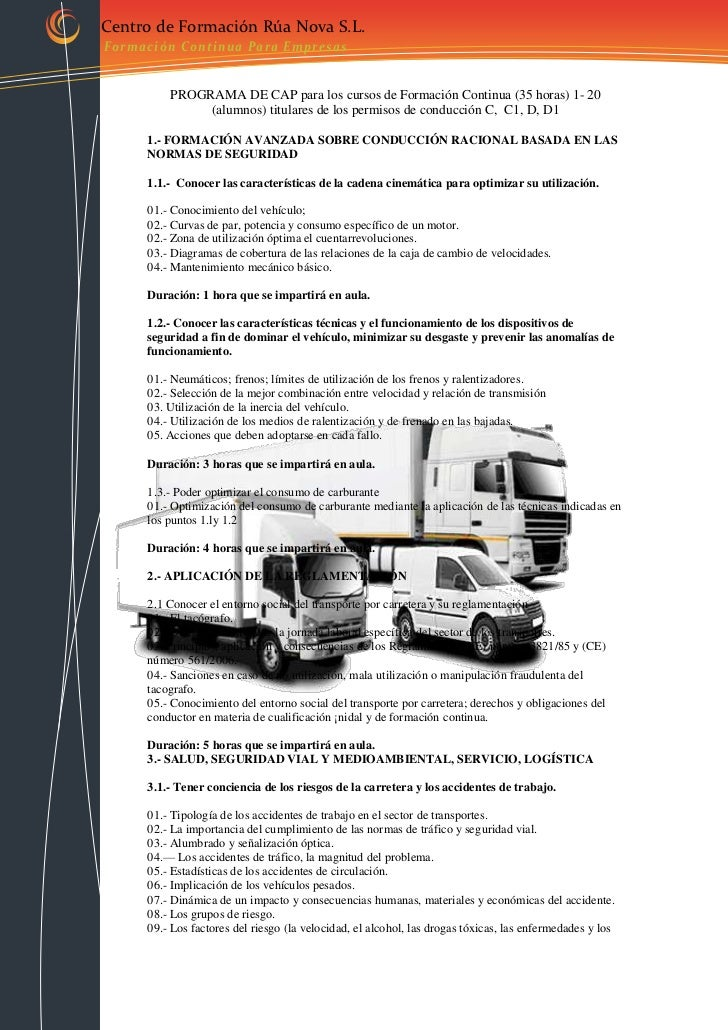 Centro de Formación Rúa Nova S.L.For mación Conti nua Para E mpresas          PROGRAMA DE CAP para los cursos de Formación...