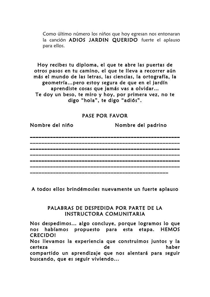 Programa de clausura el bueno jeje for Cancion adios jardin querido