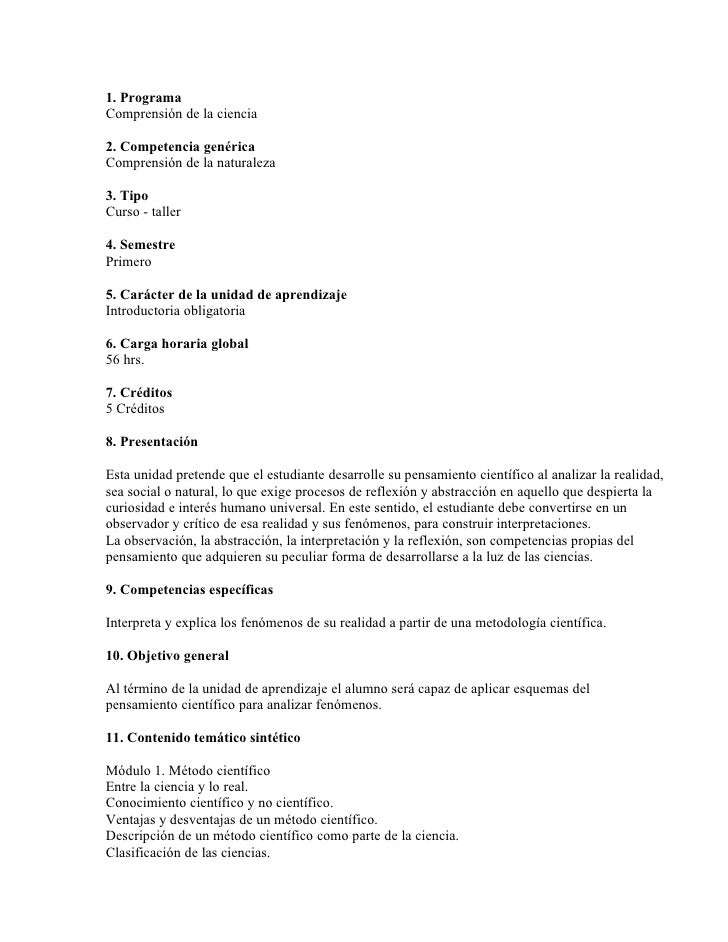 1. Programa Comprensión de la ciencia  2. Competencia genérica Comprensión de la naturaleza  3. Tipo Curso - taller  4. Se...