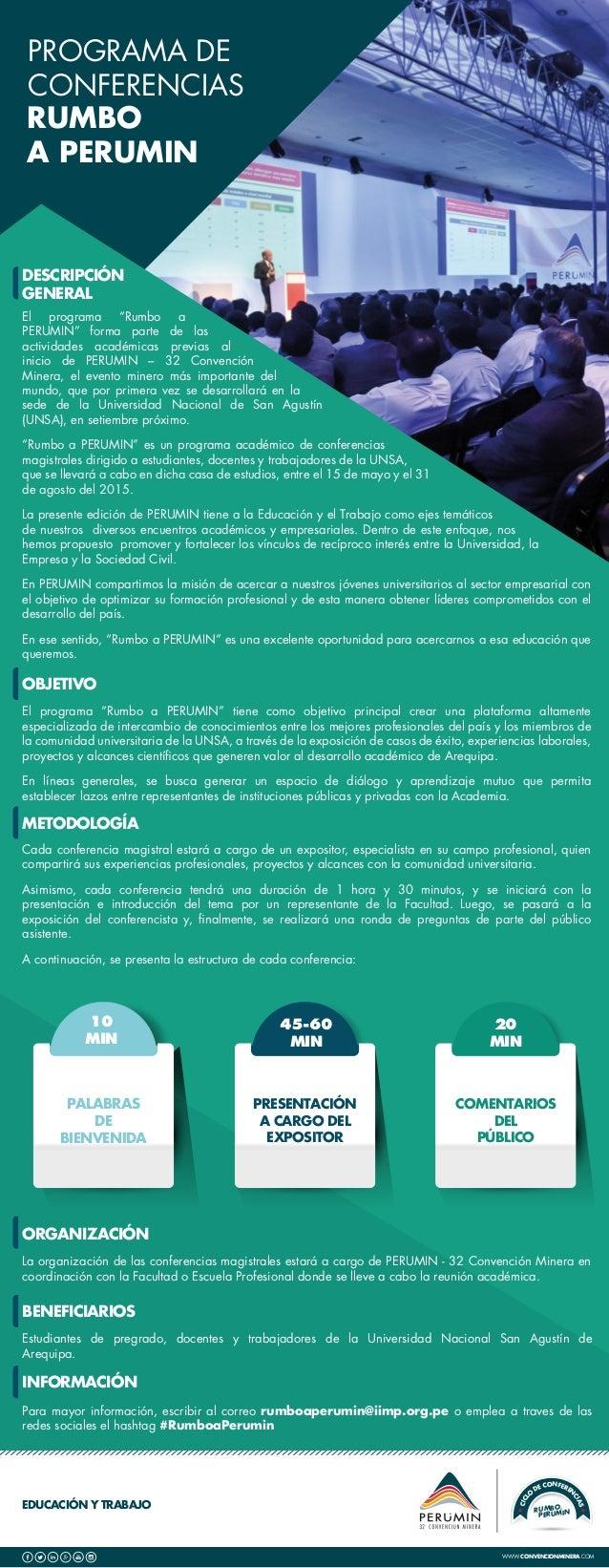 """EDUCACIÓN Y TRABAJO PROGRAMA DE CONFERENCIAS RUMBO A PERUMIN RUMBOA PERUMIN CICL O DE CONFEREN CIAS El programa """"Rumbo a P..."""