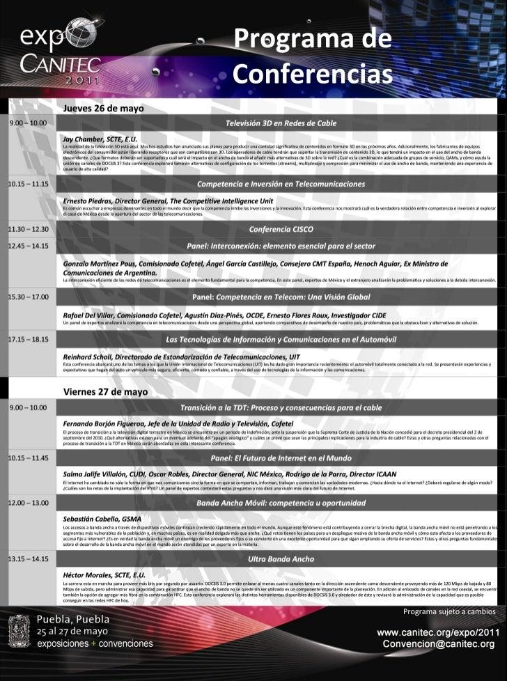 Programa de conferencias y talleres Expo Canitec 2011