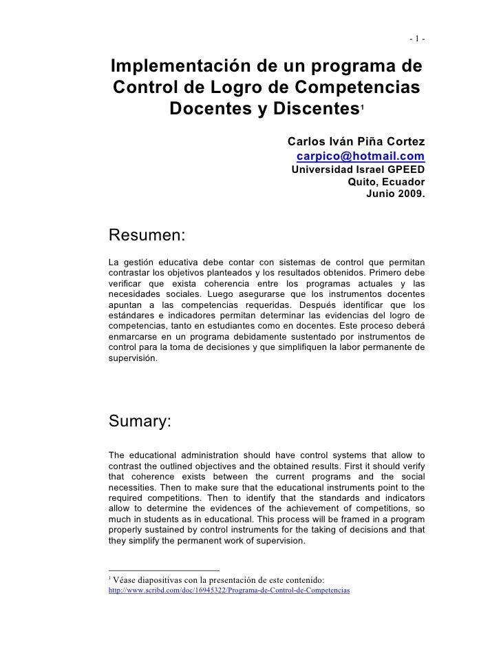 -1-   Implementación de un programa de Control de Logro de Competencias       Docentes y Discentes                        ...