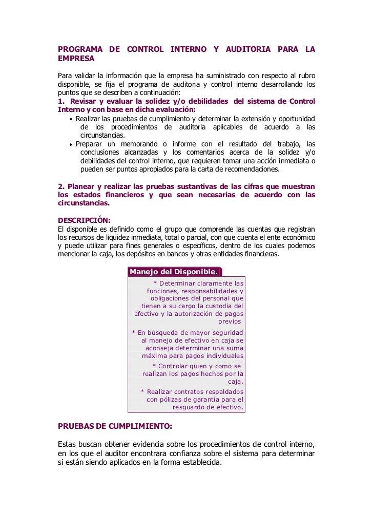PROGRAMA DE CONTROL INTERNO Y AUDITORIA PARA LA EMPRESA<br />Para validar la información que la empresa ha suministrado co...