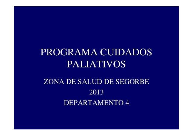 PROGRAMA CUIDADOS PALIATIVOS ZONA DE SALUD DE SEGORBE 2013 DEPARTAMENTO 4