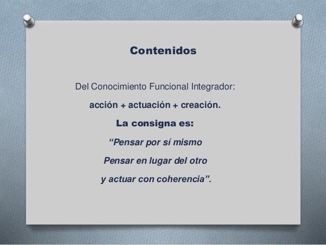 """Contenidos Del Conocimiento Funcional Integrador: acción + actuación + creación. La consigna es: """"Pensar por sí mismo Pens..."""