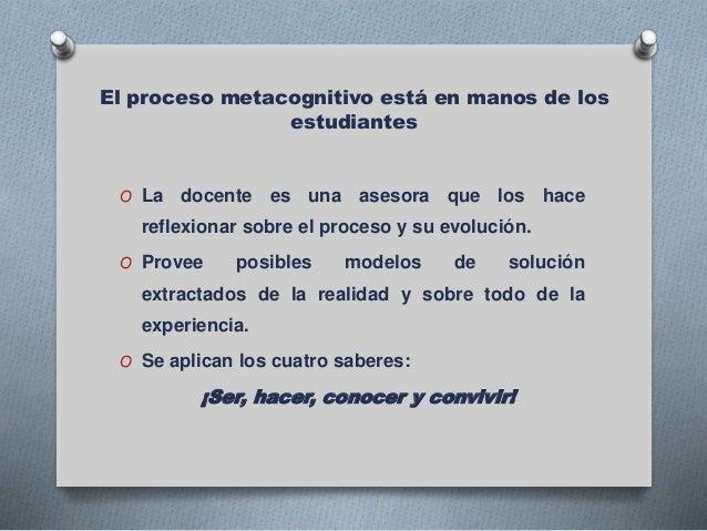El proceso metacognitivo está en manos de los estudiantes O La docente es una asesora que los hace reflexionar sobre el pr...