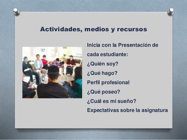 Actividades, medios y recursos Inicia con la Presentación de cada estudiante: ¿Quién soy? ¿Qué hago? Perfil profesional ¿Q...