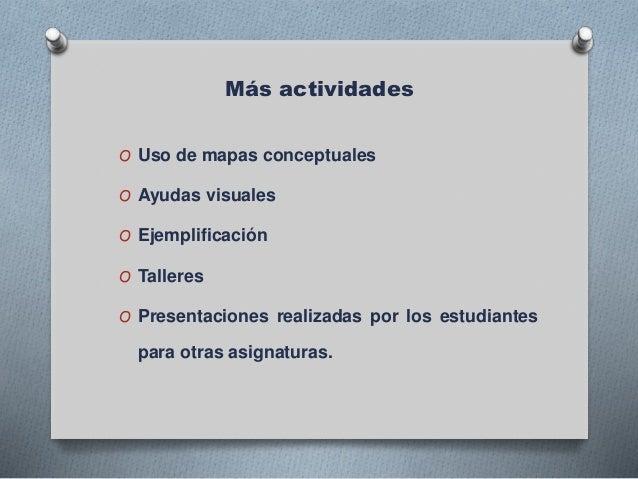 Más actividades O Uso de mapas conceptuales O Ayudas visuales O Ejemplificación O Talleres O Presentaciones realizadas por...
