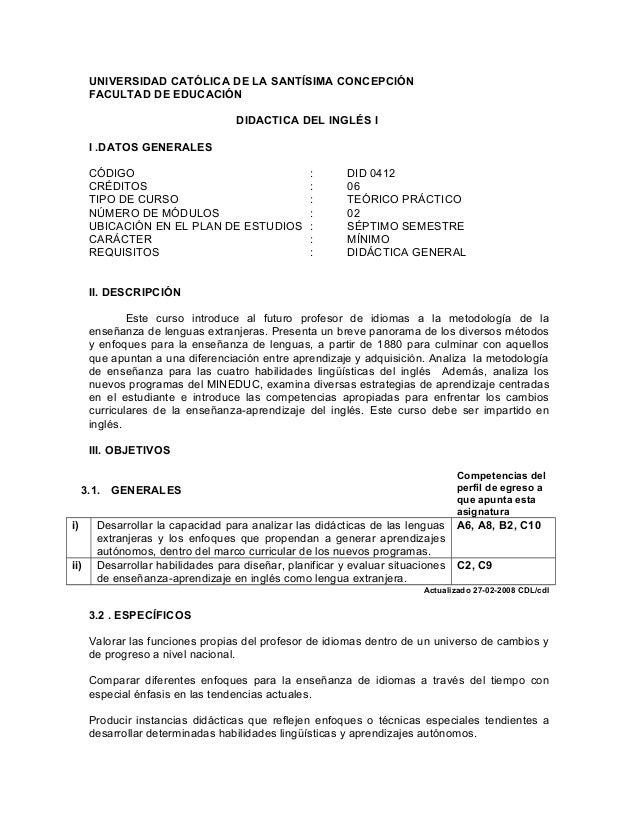 UNIVERSIDAD CATÓLICA DE LA SANTÍSIMA CONCEPCIÓN      FACULTAD DE EDUCACIÓN                                   DIDACTICA DEL...
