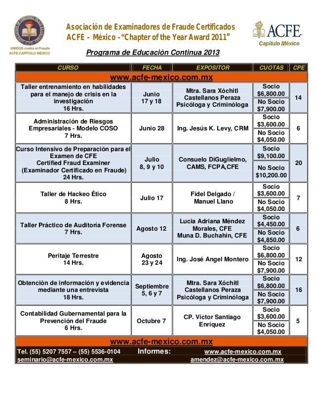 """Asociación de Examinadores de Fraude CertificadosACFE – México –""""Chapter of the Year Award 2011""""Programa de Educación Cont..."""