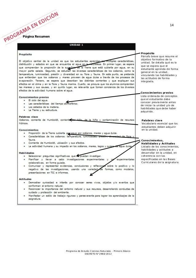 Programa de estudio 1º basico ciencias naturales