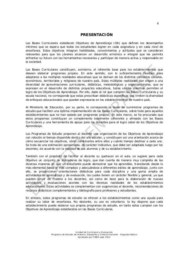 4                                            PRESENTACIÓNLas Bases Curriculares establecen Objetivos de Aprendizaje (OA) q...