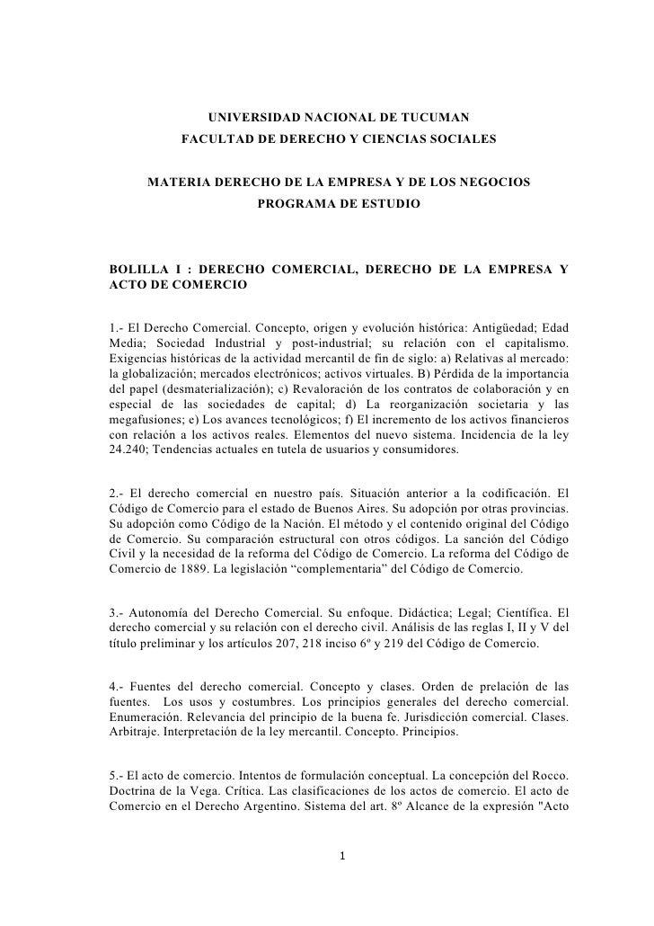 UNIVERSIDAD NACIONAL DE TUCUMAN               FACULTAD DE DERECHO Y CIENCIAS SOCIALES          MATERIA DERECHO DE LA EMPRE...