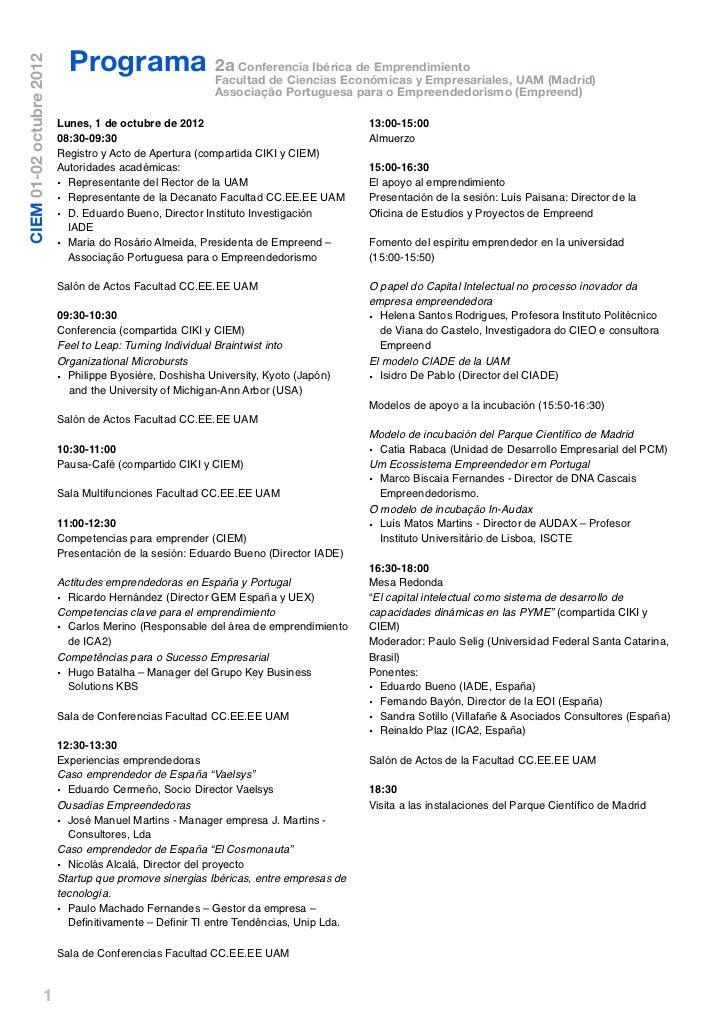 Programa Facultad de Ciencias Económicas y Empresariales, UAM (Madrid)CIEM 01-02 octubre 2012                             ...