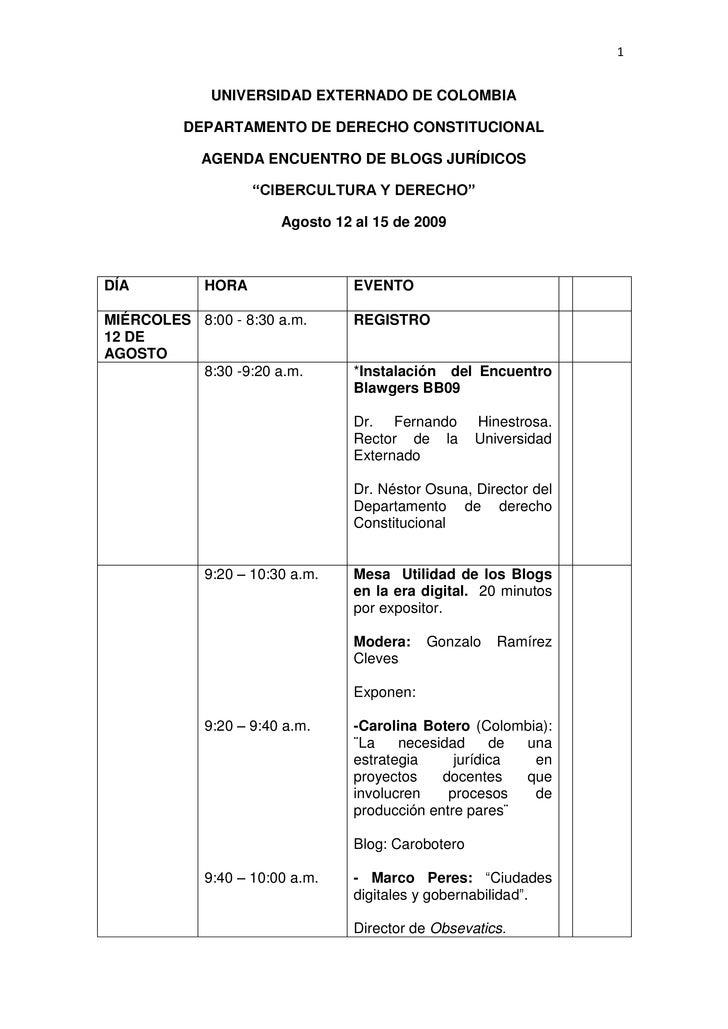 UNIVERSIDAD EXTERNADO DE COLOMBIA<br />DEPARTAMENTO DE DERECHO CONSTITUCIONAL<br />AGENDA ENCUENTRO DE BLOGS JURÍDICOS<br ...